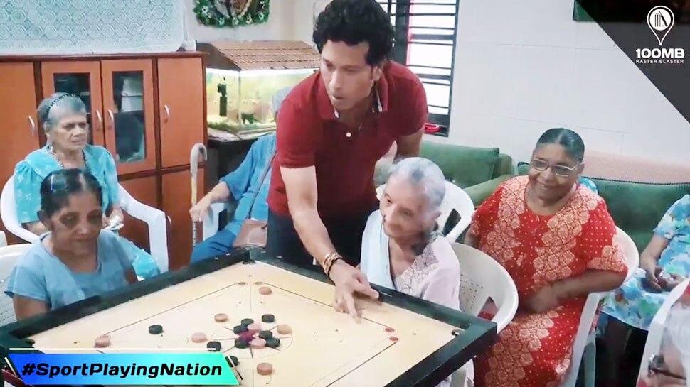 VIDEO: सचिन ने दादियों के साथ कैरम और कांबली संग टेनिस खेलकर दिया फिट रहने का संदेश