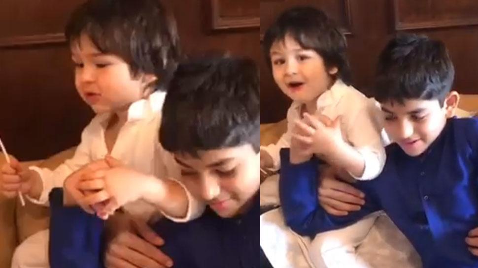 तैमूर अली खान ने लगाया 'मंगल मूर्ति मोरया' का जयकारा, VIDEO ने मचाया तूफान!