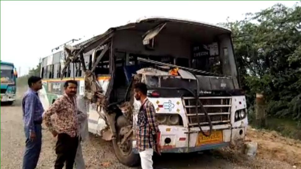 राजस्थान: रोडवेज बस और ट्रक में हुई भीषण भिड़ंत, हादसे में 15 लोग घायल