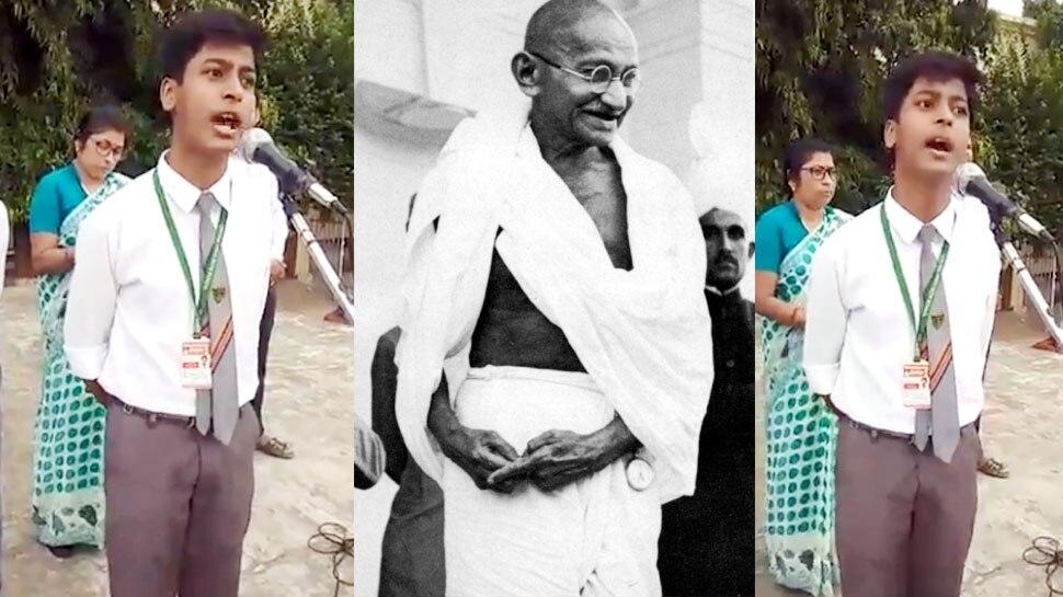 Video: महात्मा गांधी पर वाराणसी के इस स्कूली छात्र ने दिया ऐसा भाषण, सुनकर उड़ जाएंगे होश