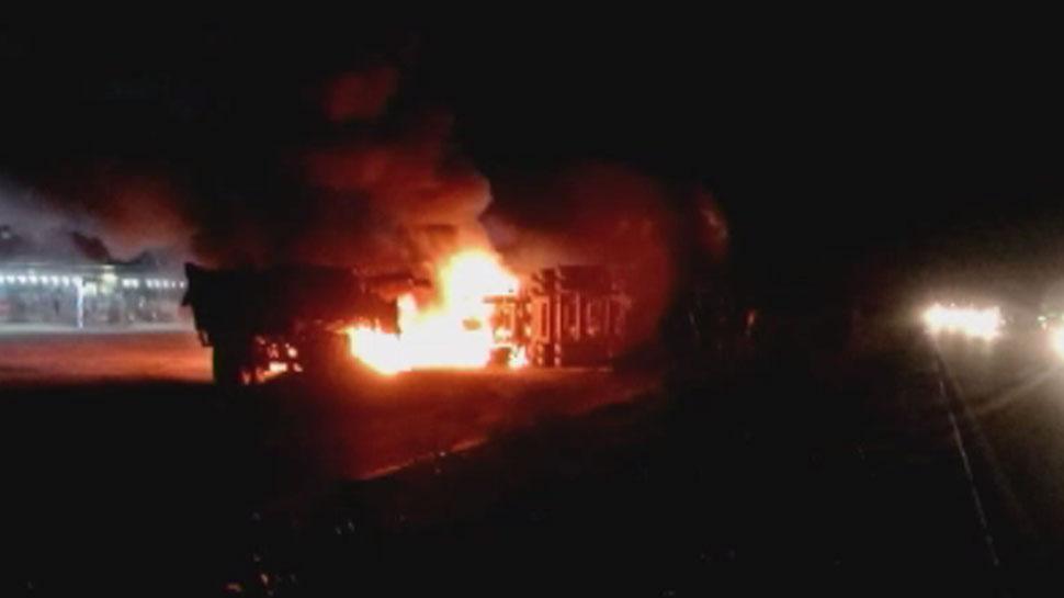 पाली: राजमार्ग 162 पर दो ट्रोली में हुई टक्कर से लगी भीषण आग, दो लोग जिंदा जले