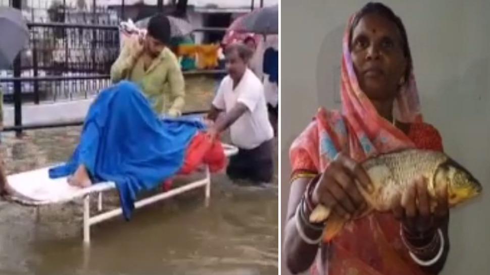 बिहार: भारी बारिश से NMCH हुआ पानी-पानी, वॉर्ड में तैर रही हैं मछलियां