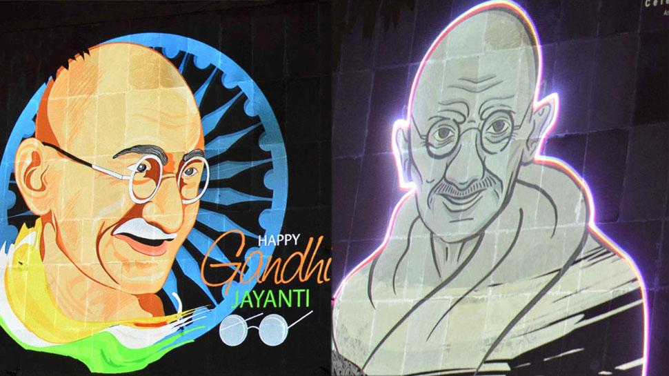 राजस्थान: गांधी जयंती पर सहकार भवन पर देखें लेजर लाइट्स से बनी महात्मा गांधी की तस्वीरें