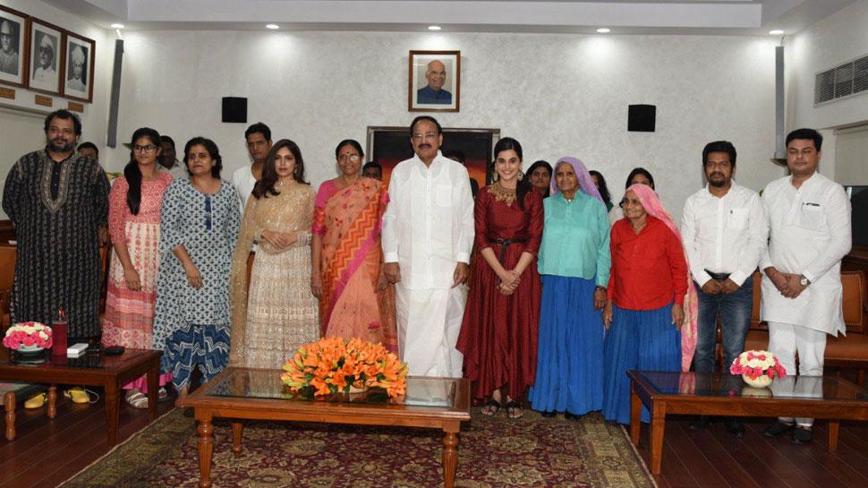 उपराष्ट्रपति वेंकैया नायडू ने की 'सांड की आंख' की तारीफ, भूमि-तापसी ने ऐसे किया शुक्रिया