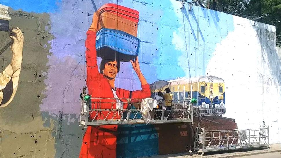 B'day पर फैन ने दिया अमिताभ बच्चन को अनूठा गिफ्ट, दीवार पर उकेरी 'कुली' की तस्वीर