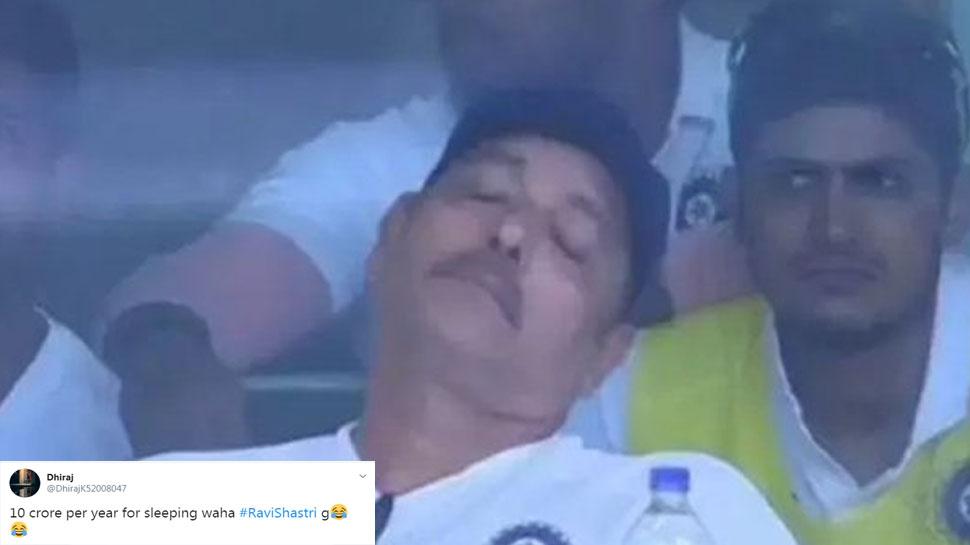 INDVSA: मैच के दौरान सोते नजर आए रवि शास्त्री, यूजर्स ने किया ट्रोल; बनाए मजेदार मीम्स