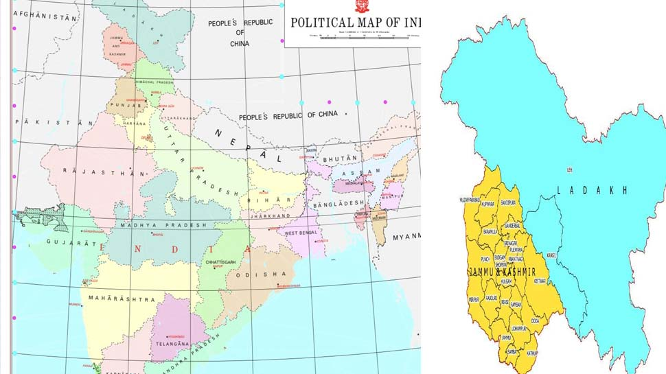 भारत सरकार ने जारी किया जम्मू-कश्मीर और लद्दाख का नया मानचित्र, नक्शे में PoK भी शामिल