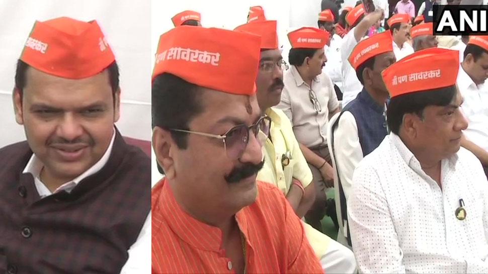 महाराष्ट्र: राहुल को BJP का जवाब, 'मैं भी सावरकर' टोपी पहनकर विधानसभा पहुंचे विधायक