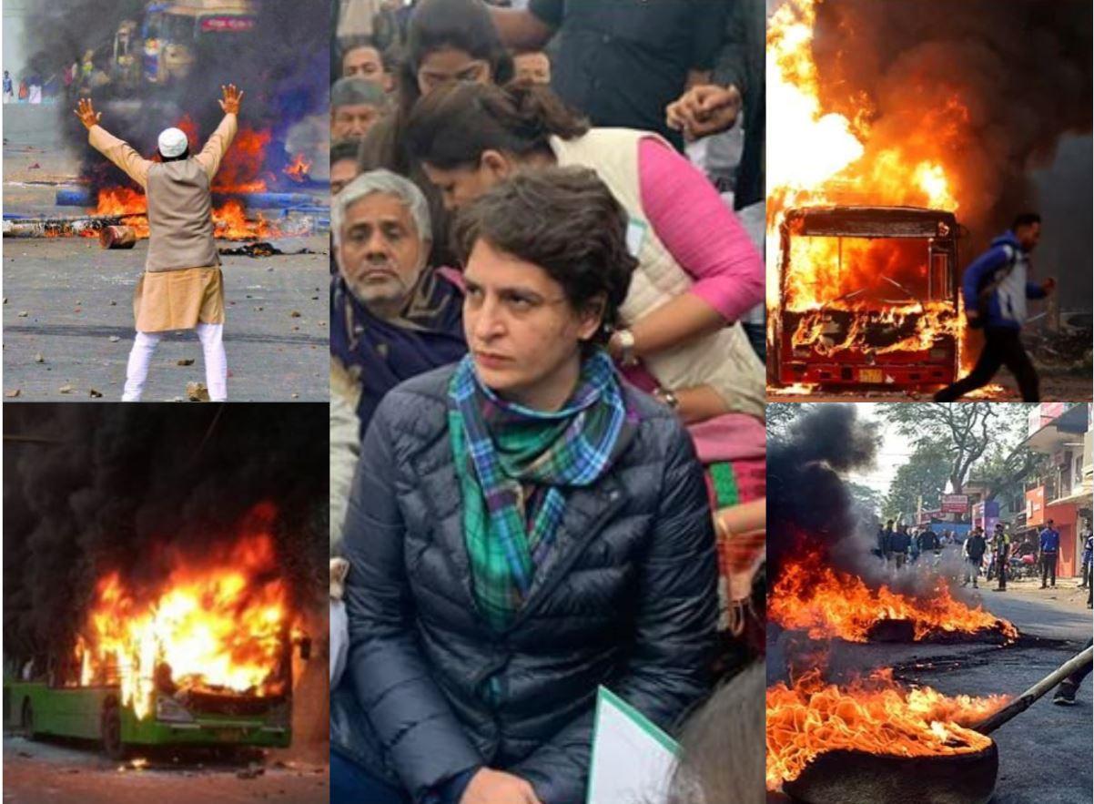 दरबारियों के साथ दिल्ली की आग में राजनीतिक रोटियां सेंकने उतरीं प्रियंका