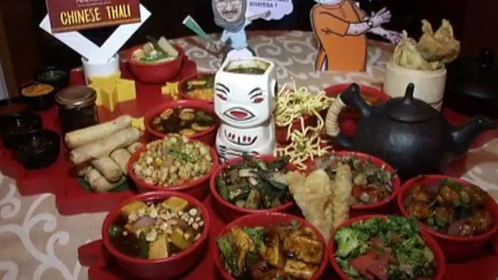 veg and non veg in Chunavi Thali