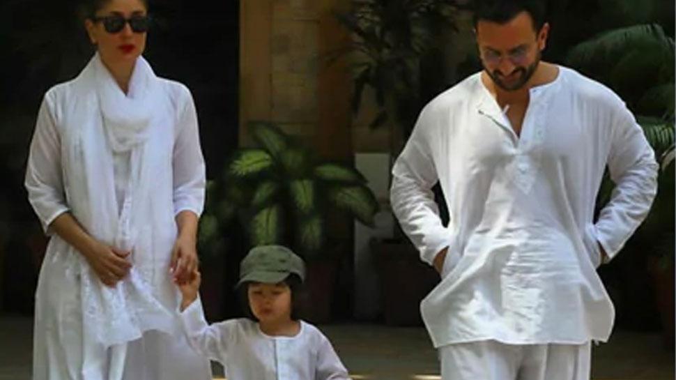 सफेद कुर्ते पजामे में होली मनाने निकले तैमूर अली खान, Video वायरल