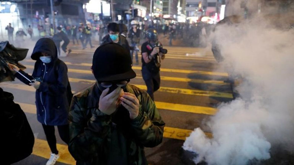 Police fired multiple rounds of tear gas