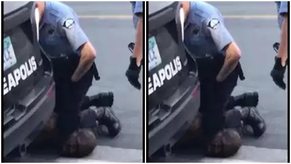अमेरिका में पुलिस ने अफ्रीकी मूल के शख्स को घुटनों के नीचे दबाकर मार डाला