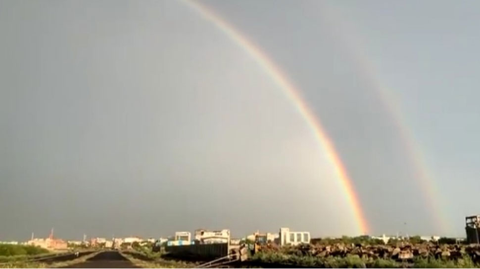 when two rainbows formed in sky