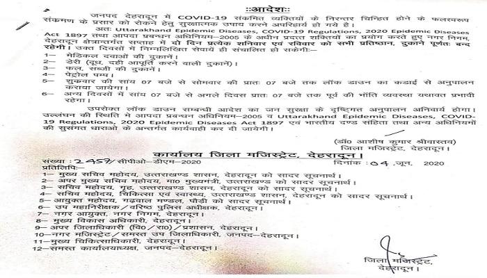 देहरादून जिला प्रशासन ने जारी किया आदेश, राजधानी में इन 2 दिनों में दुकानें खुलीं तो खैर नहीं
