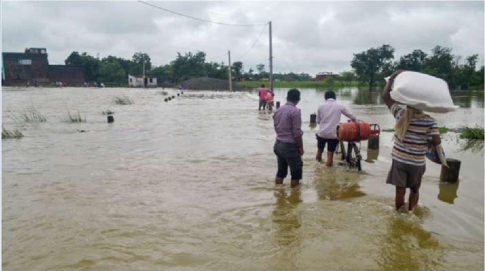 बाढ़ की विभीषिका झेल रहा बेतिया, आम जनजीवन से लेकर पशुओं तक को पड़े हैं खाने के लाले