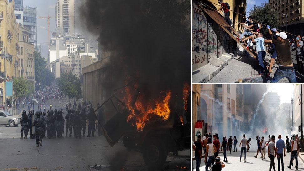 लेबनान: प्रदर्शनकारियों ने कई मंत्रालयों में की तोड़फोड़, 100 से ज्यादा घायल