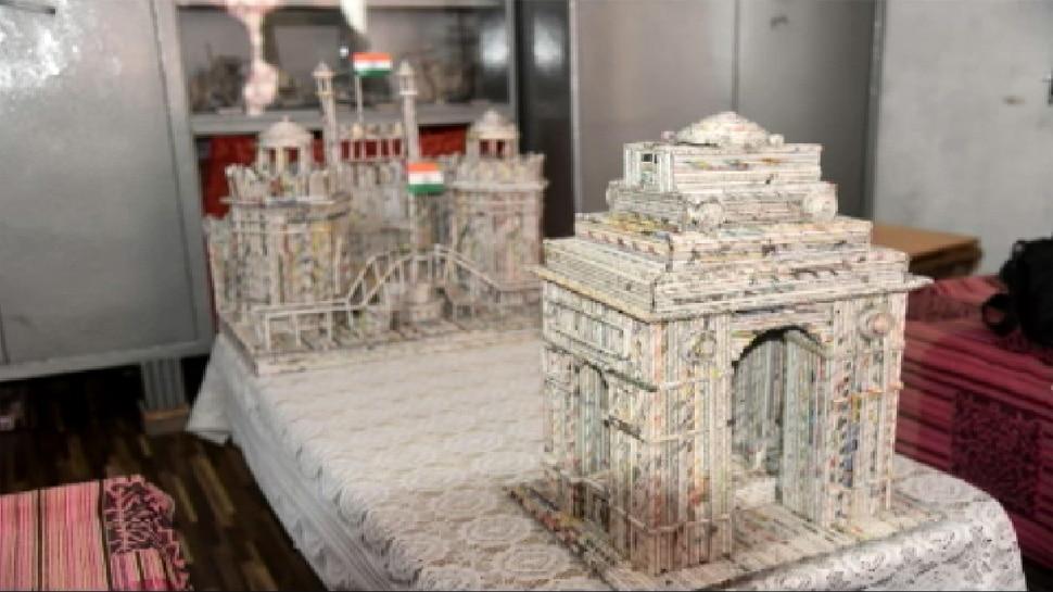 मुजफ्फरनगर का 19 वर्षीय अनोखा कलाकार, अखबार की रद्दी से बना डाला लाल किला, इंडिया गेट और राम मंदिर