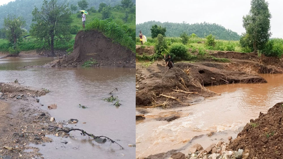 सांसद के आदर्श ग्राम में बह गए मनरेगा के बांध, एक करोड़ में बने थे, 4 इंच की बारिश में घुल गए