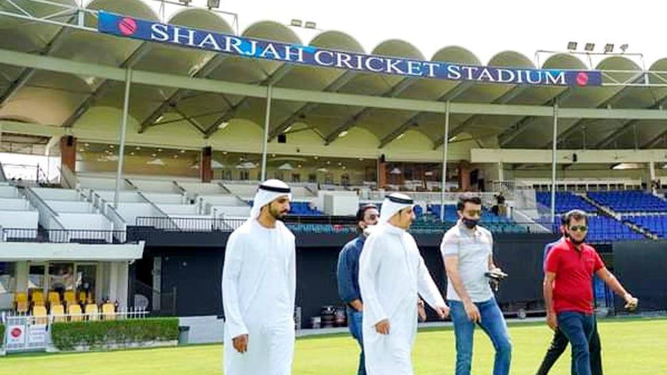 IPL की तैयारियों का जायज़ा लेने पहुंचे सौरव गांगुली, देखिए शारजाह स्टेडियम की तस्वीरें