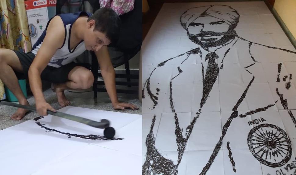 खास अंदाज में बलवीर सिंह सीनियर को श्रद्धांजलि, बिना कागज पर हाथ लगाए बनाया पोट्रेट