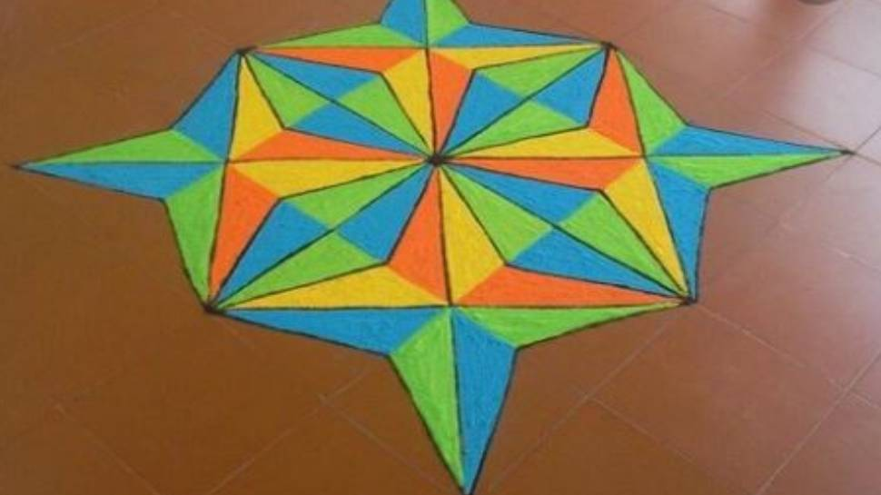 Rangoli made in geometric design