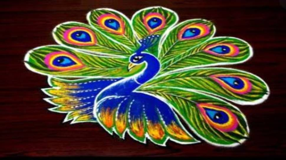 Peacock design rangoli