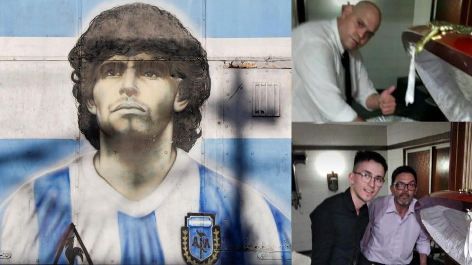 Diego Maradona के ताबूत के साथ 3 लोगों खिंचाई फोटो, जानिए क्या हुआ अंजाम