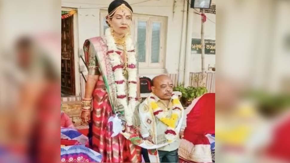 wedding like this a groom of 3 feet age 42 bride of 29 years 5.5 feet  height mpsn | एक शादी ऐसी भी: 3 फीट का दूल्हा, 42 की उम्र, 29 बरस की दुल्हन  5.5 फीट हाइट