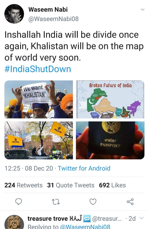 Khalistani movement under the guise of peasant movement