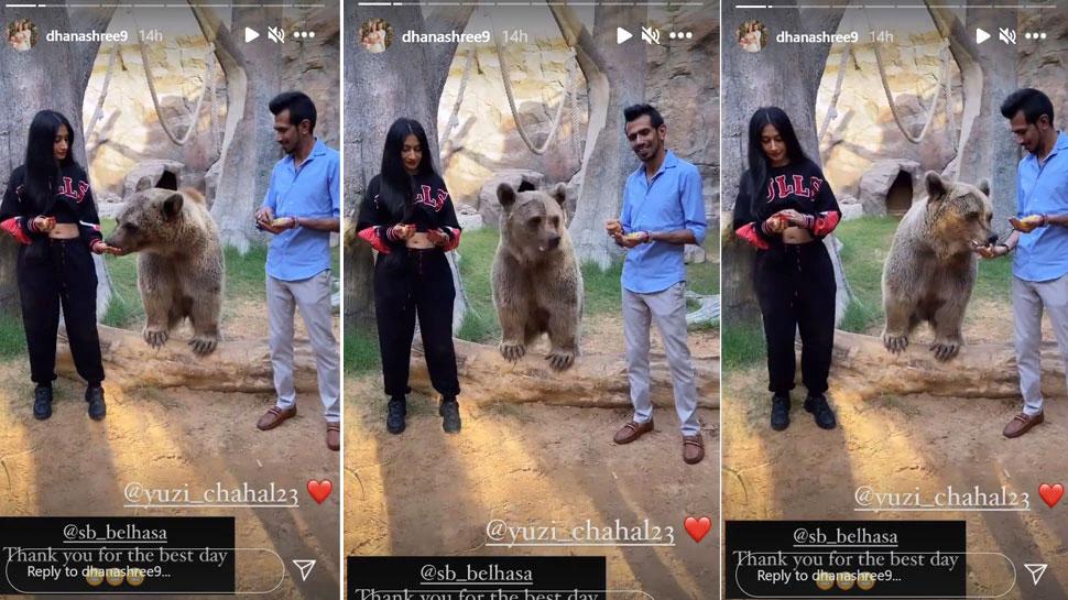 Yuzvendra Chahal Dhanashree Verma Honeymoon in Fame Park Duabai with Bear