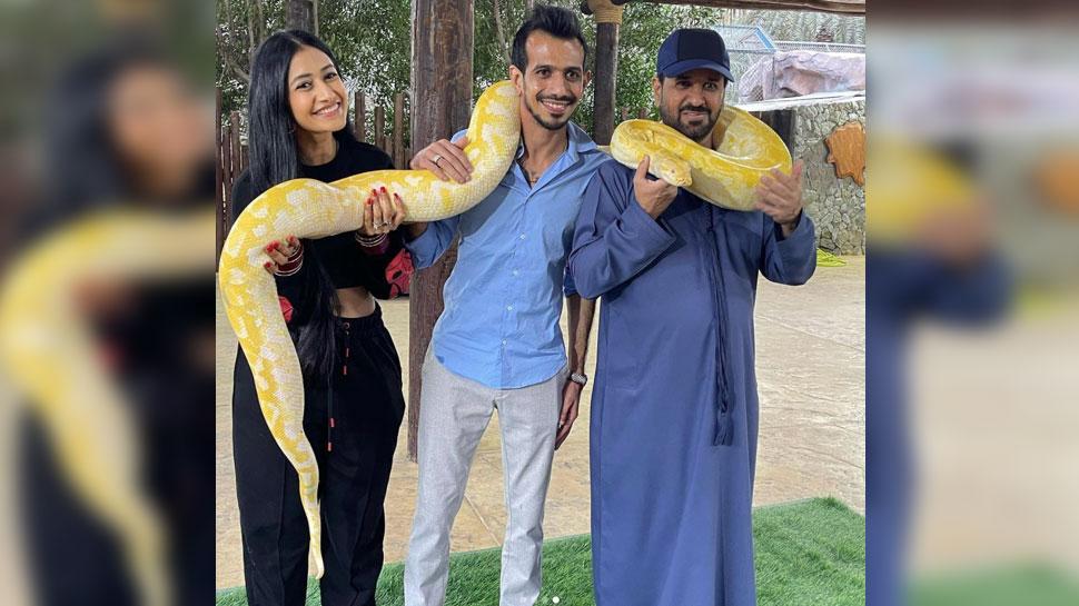 Yuzvendra Chahal Dhanashree Verma Honeymoon in Fame Park Duabai with Python