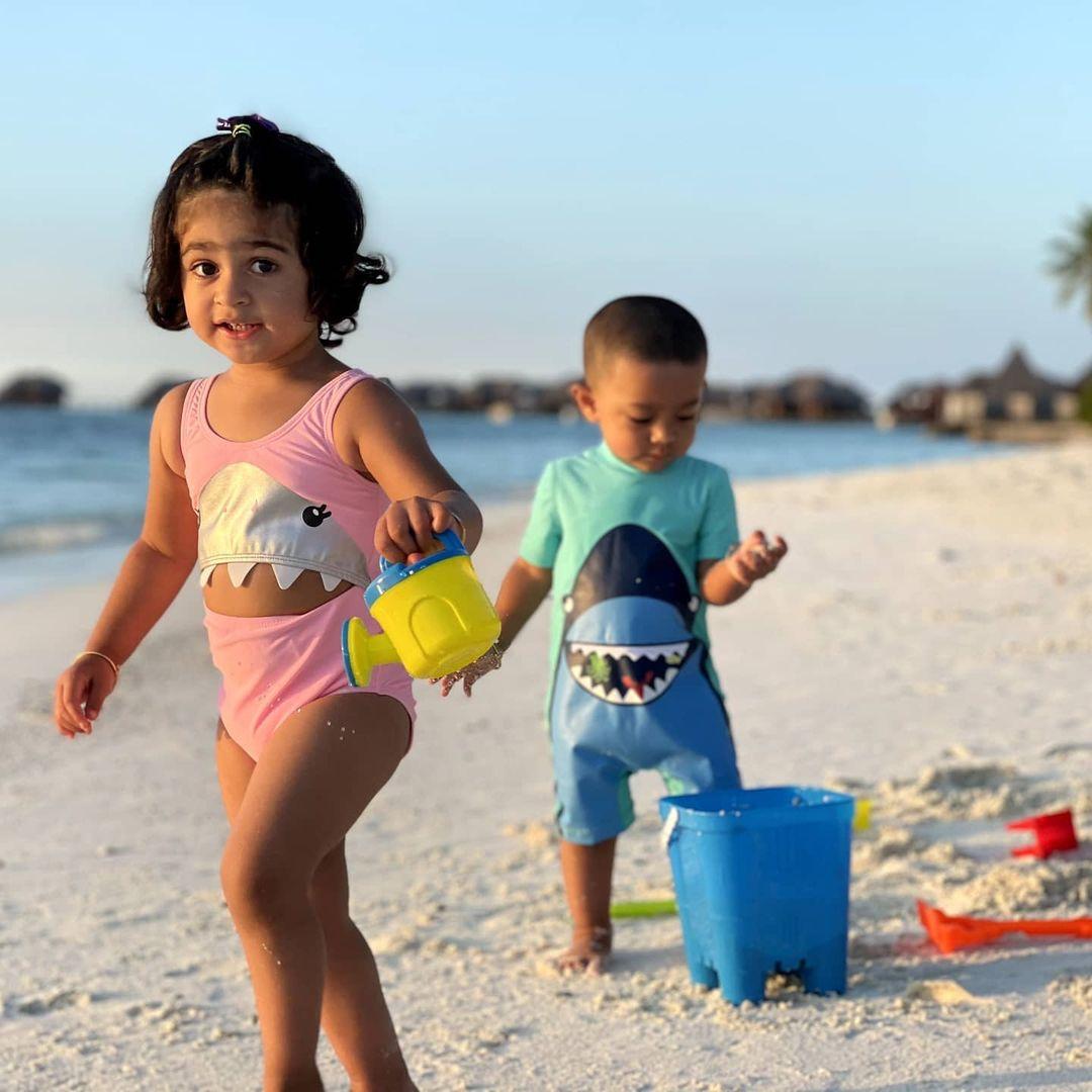 yash kids at beach