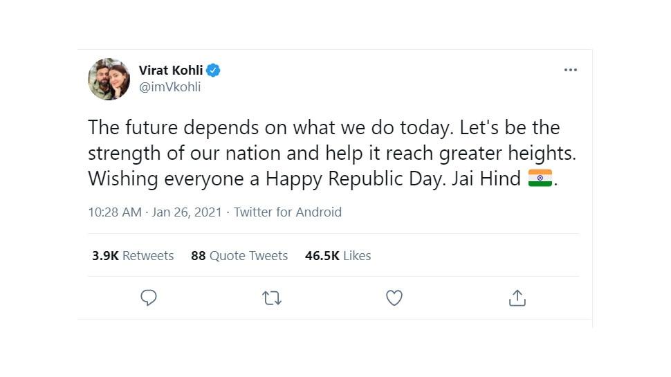 Virat Kohli on Republic Day 2021