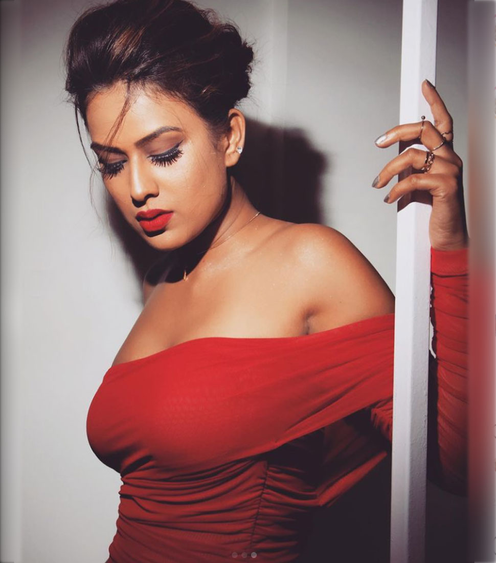 Nia Sharma in Red Dress