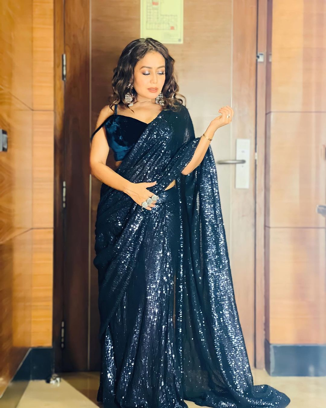 Neha Kakkar Blue Sarees Photos