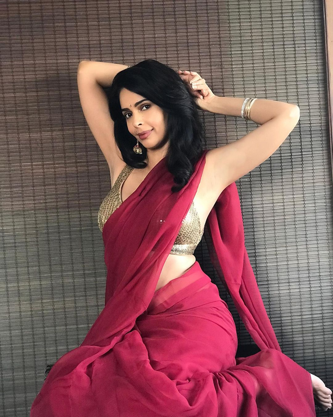 Mallika Sherawat saree look