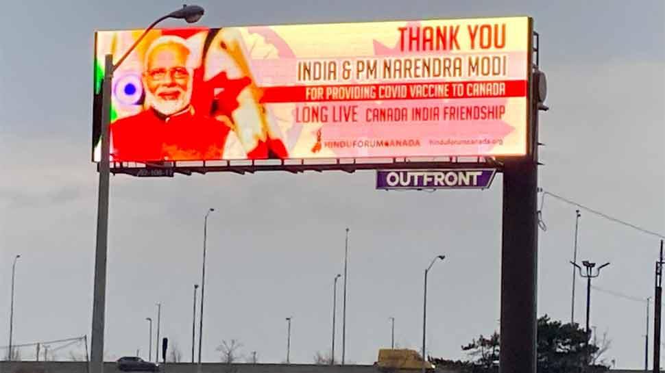 Corona Vaccine को लेकर कनाडा में PM Modi की हो रही जमकर तारीफ, सड़कों पर लगे बड़े-बड़े पोस्टर