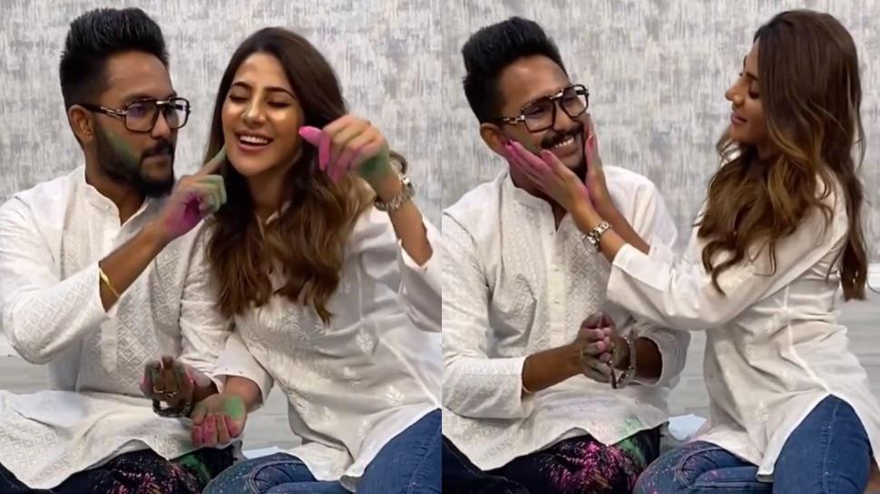 Nikki Tamboli पर चढ़ा Jaan Kumar Sanu का रंग, साथ में खेली प्यार भरी होली