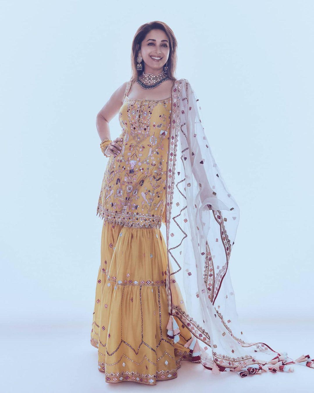 Madhuri Dixit yellow sharara look