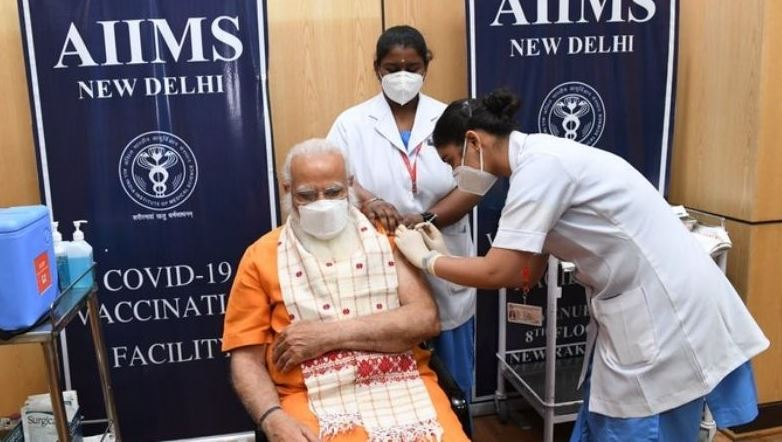 PM Modi ने एम्स में लगवाई कोरोना वैक्सीन की दूसरी डोज