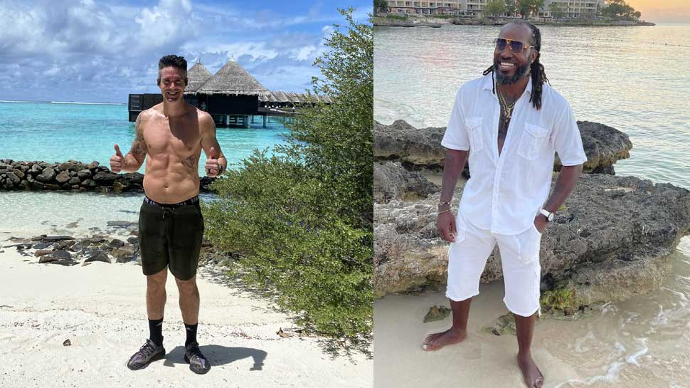 Maldives पहुंचकर Kevin Pietersen हुए Shirtless, Chris Gayle ने उनकी 'तोंद' को लेकर उड़ाया मजाक