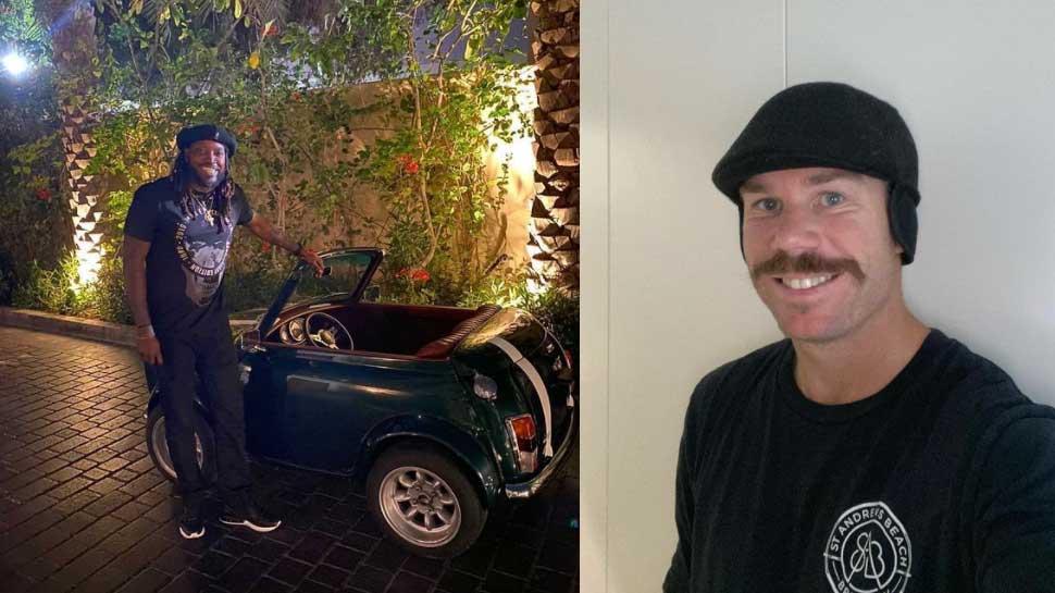 Chris Gayle ने Mini Car के साथ कराया Photoshoot, David Warner ने यूं लिए मजे