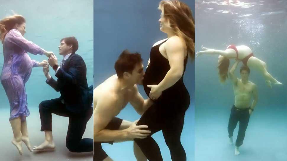 गजब: इस सेलिब्रिटी स्पोर्ट्स कपल ने कराया Underwater Pre Delivery Photoshoot