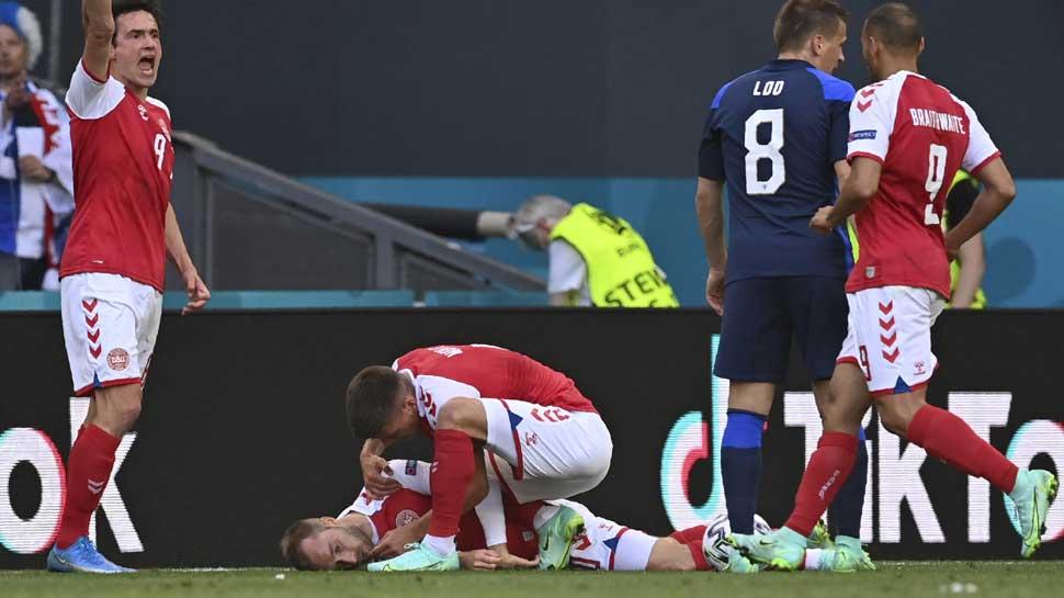 Euro 2020: Denmark के मिडफील्डर Christian Eriksen मैदान में गिर पड़े, 90 मिनट तक रुक गया मैच