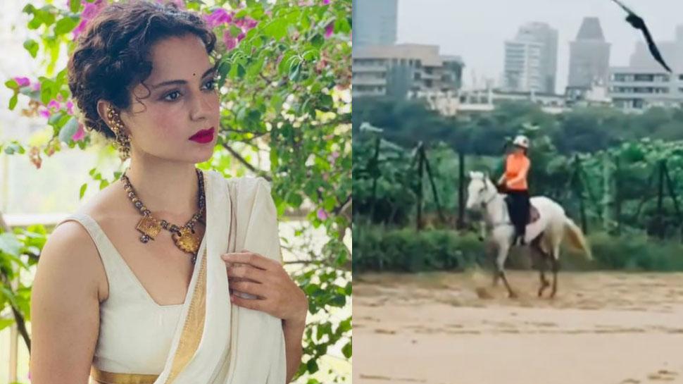 Kangana Ranaut ने की जबर्दस्त अंदाज में घुड़सवारी, VIDEO ने मचाई धूम