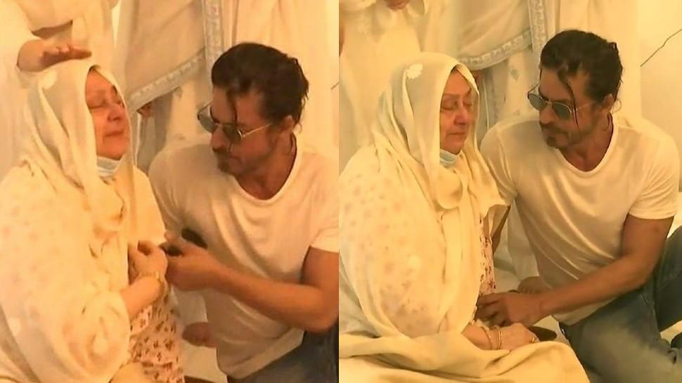 Dilip Kumar passed away, Shah Rukh Khan and uddhav thackrey console saira bano |  Dilip Kumar Demise: Saira Bano wept bitterly in front of Shah Rukh Khan, SRK gave shoulder like a son