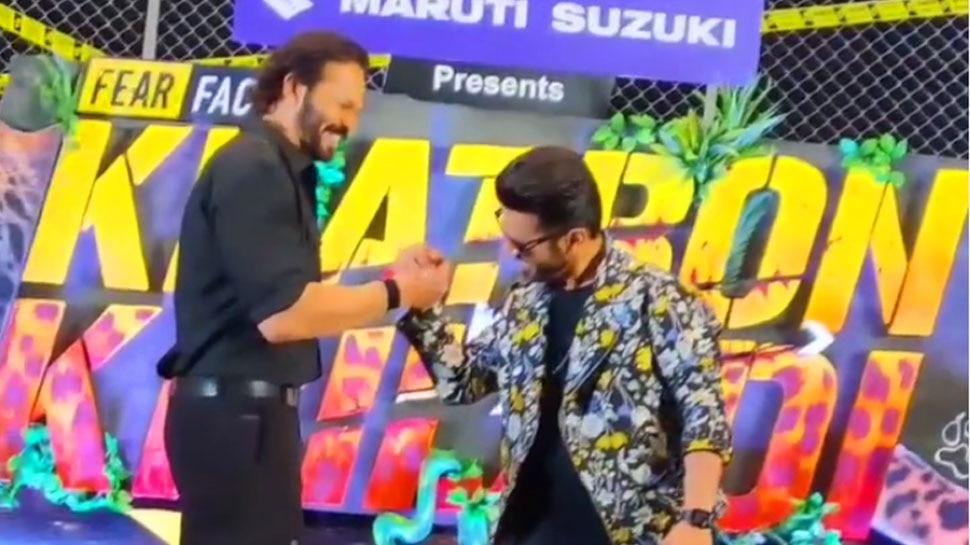 Khatron Ke Khiladi Season 11 Launch Rohit Shetty Arm Wrestling With Rahul Vaidya Video Viral |  Khatron Ke Khiladi 11: When Rohit Shetty fought paw with Rahul Vaidya, who got the better?