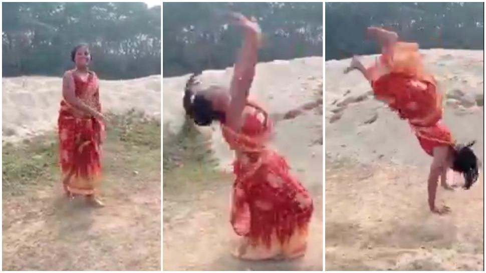 Viral Video: महिला ने साड़ी में दिखाए करतब, लोगों ने कहा- Olympics में जाना चाहिए