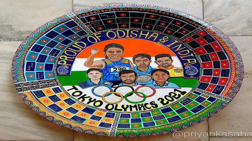 Tokyo Olympics 2020: ଚିତ୍ରଶିଳ୍ପୀ ପ୍ରିୟଙ୍କା ସାହାଣୀଙ୍କ ଅନନ୍ୟ କଳାକୃତି, ଥାଳିରେ ଆଙ୍କିଲେ ଓଡ଼ିଶା ଖେଳାଳିଙ୍କ ଚିତ୍ର